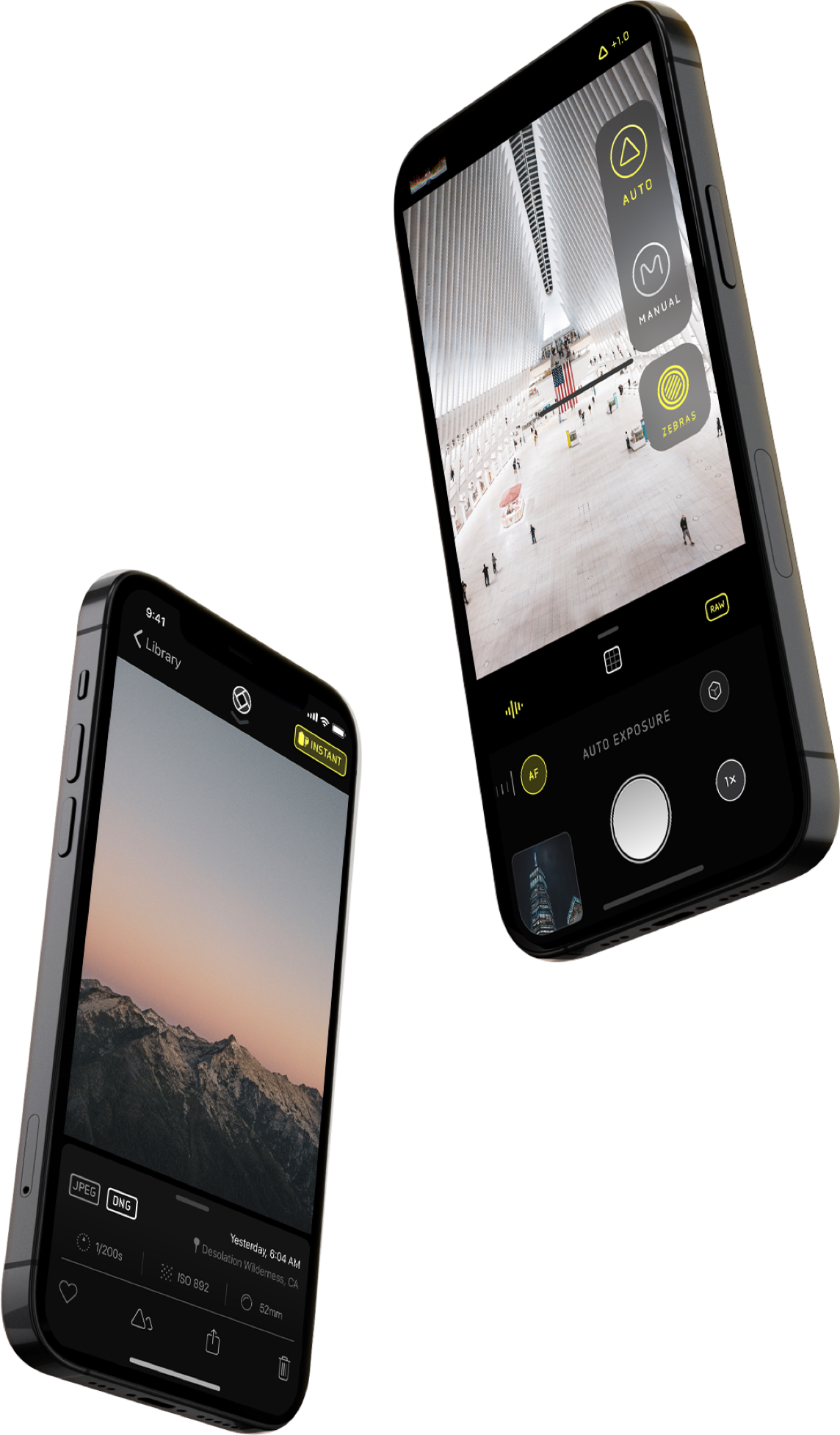 two phones on angled displaying the app halide